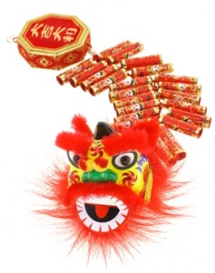 Chinese Lion and Fire Crackers i